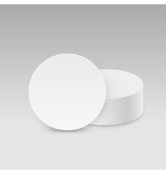 White round blank beer coasters isolated vector