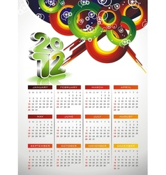 Calendar design 2012 with abstract circle design vector