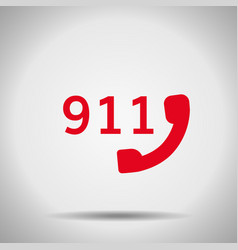 911 icon isolated with shadow vector