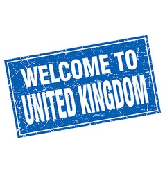 United kingdom blue square grunge welcome to stamp vector