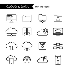 Internet cloud and data thin line icon set vector