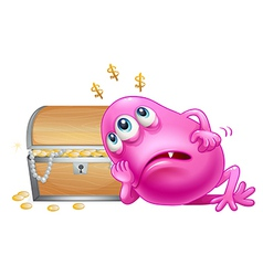 A pink beanie monster beside the wooden treasure vector