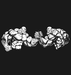 Armwrestling wrestling on hands vector