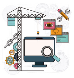 Background with crane and desk computer for vector