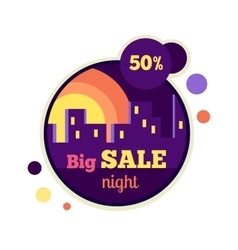 Big night sale round banner 50 percent off vector
