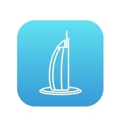 Burj Al Arab hotel line icon vector image