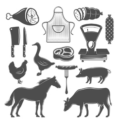 Butchery monochrome elements set vector