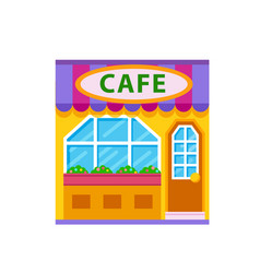 Cafe front view flat icon vector