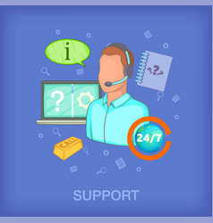 Call center concept man cartoon style vector