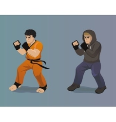 Cartoon male fighters vector image
