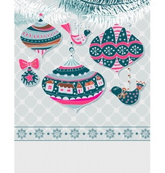 Christmas card with decorations vector image vector image