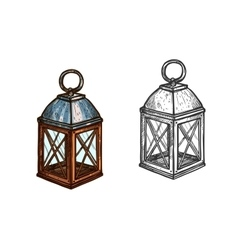 Christmas lamp lantern light sketch icon vector image