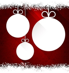 Christmas paper balls on red background vector image