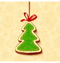 Christmas tree chocolate honey-cake greetings card vector image vector image