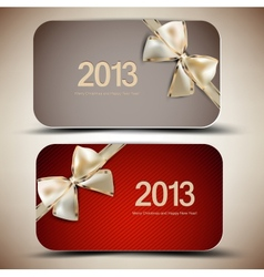 Collection of gift cards with ribbons 2013 vector image