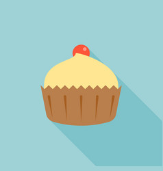 cupcake and cherry with long shadow vector image vector image