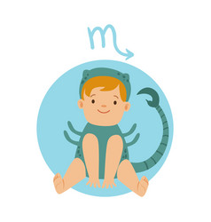 Cute little boy as scorpio astrological sign vector