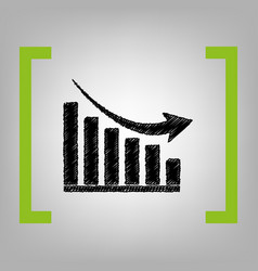 Declining graph sign black scribble icon vector