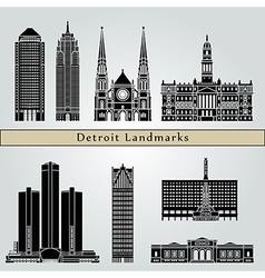 Detroit landmarks and monuments vector