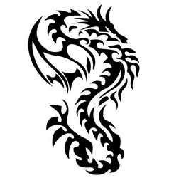 Dragon tattoo tribal dragon black and white dragon vector