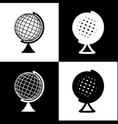 Earth globe sign black and white icons vector
