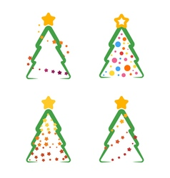 Flat xmas tree set 04 vector