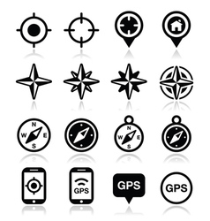 GPS navigation wind rose compass icons set vector image