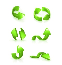 Green arrows set vector image vector image