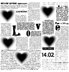 Halftone hearts newspapers vector