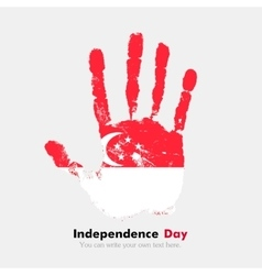 Handprint with the flag of singapore in grunge vector