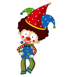 Happy clown with colorful hat vector