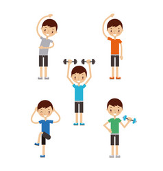 Happy fitness people image vector
