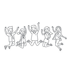 happy people jumping line vector image