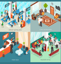 Isometric waiting areas set vector