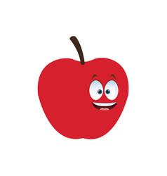 Kawaii apple juicy fruit food healthy vector