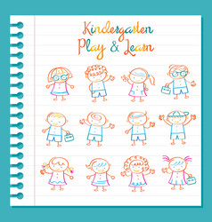 Kindergarten Line Drawing Kids Characters Set vector image