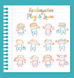 Kindergarten line drawing kids characters set vector
