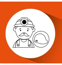 mine worker pickaxe with helmet vector image