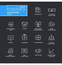 Modern advertising simple thin line design icons vector image vector image
