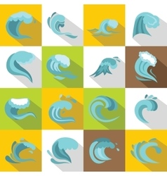 Sea waves icons set flat style vector image vector image