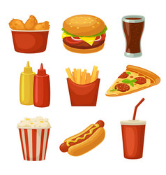 Set fast food icon cup cola chips burrito vector