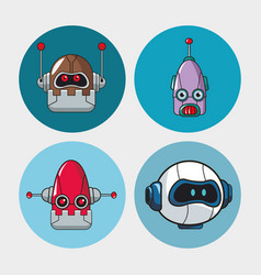set head robots mechanical technologies vector image