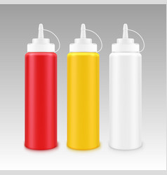 Set of plastic mayonnaise mustard ketchup bottle vector