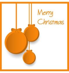 Three orange paper christmas decoration baubles vector