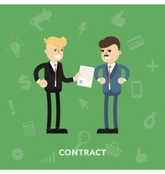 Two business partners signing a document vector image
