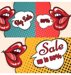 Woman lips pop art sale banners vector
