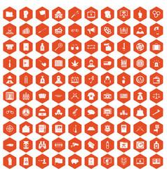 100 criminal offence icons hexagon orange vector image