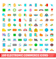 100 electronic commerce icons set cartoon style vector image vector image