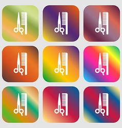 Hair icon nine buttons with bright gradients for vector