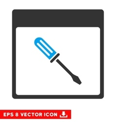 Screwdriver calendar page eps icon vector